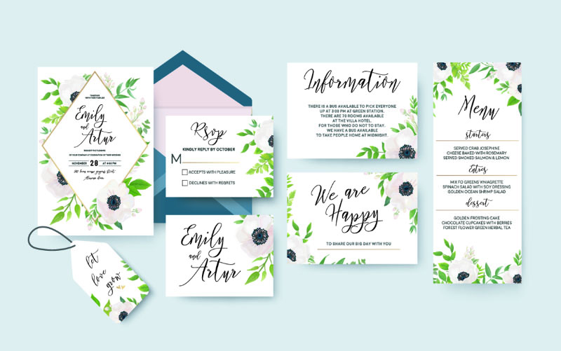 Personalised Printed invites cards on a range of stock
