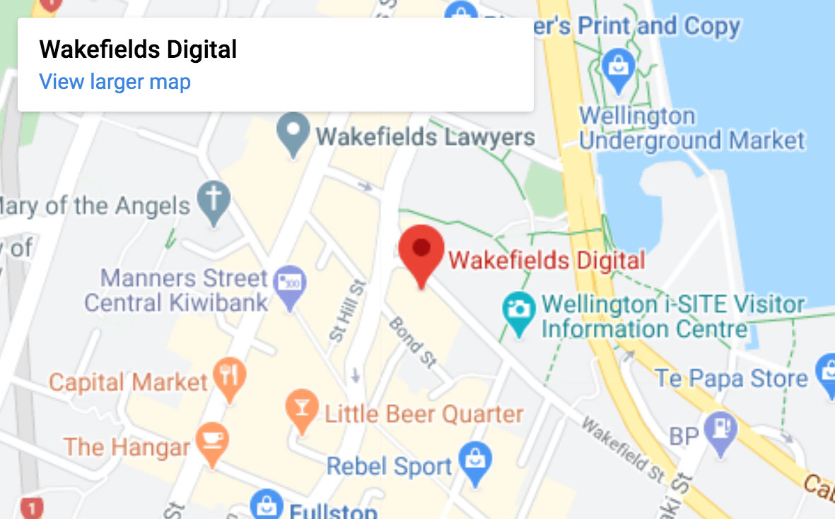 Wakefields Digital Printing Wellington location map
